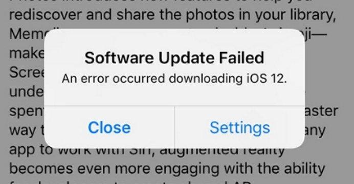 Fix iOS 12 software update failed iOS 12 iOS 12.1 iOS 12.2
