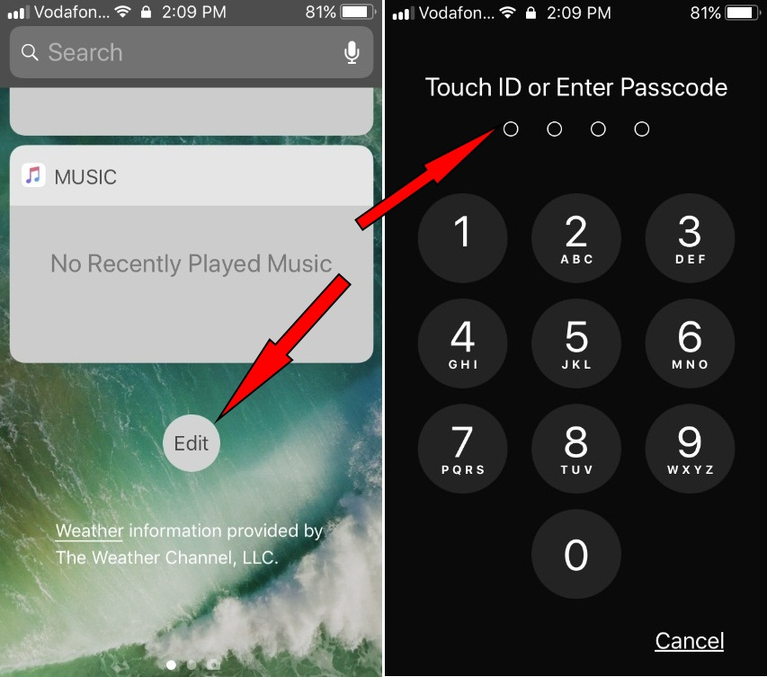 Edit button on locked screen iPhone iOS 11 to remove widget App shortcut