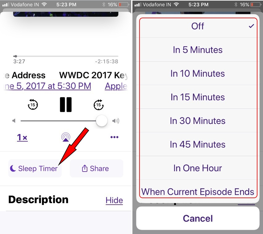 tap on Sleep timer on Podcast App iOS 11 to turn on and turn off Podcast asleep time