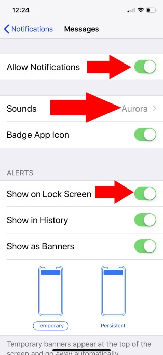 1 Message app Notification preview and settings on iPhone