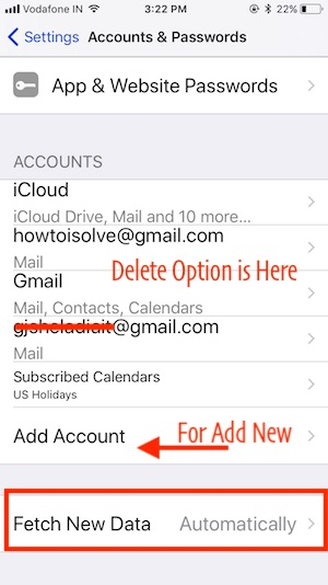 2 Delete add or Option for Fetch New Data in iOS 11