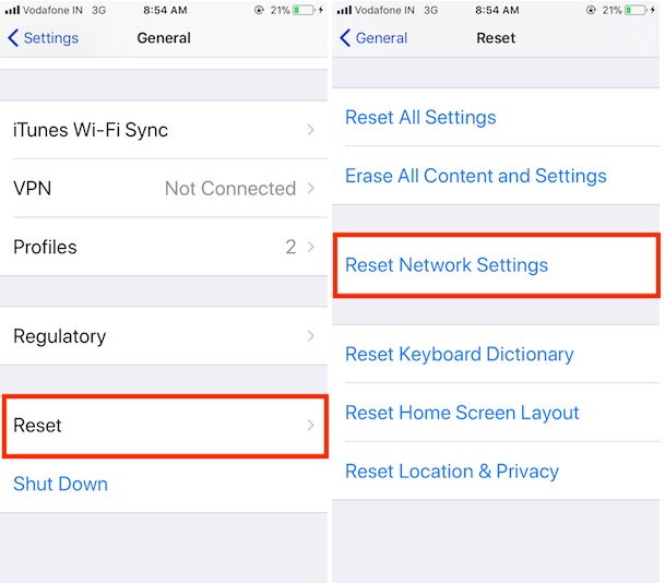 2 Reset Network Settings on iPhone and iPad