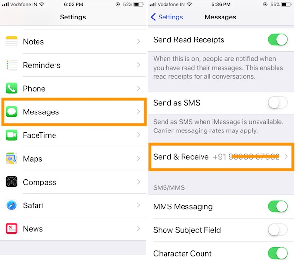 4 Signout iMessage apple ID on iPhone in iOS 11