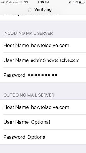 5 Submit Mail settings on iPhone mail app