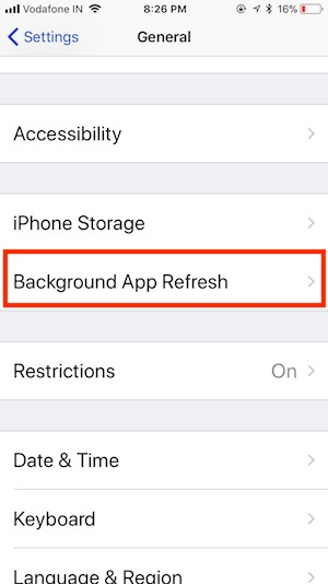7 Manage Background App Refresh on iOS 11