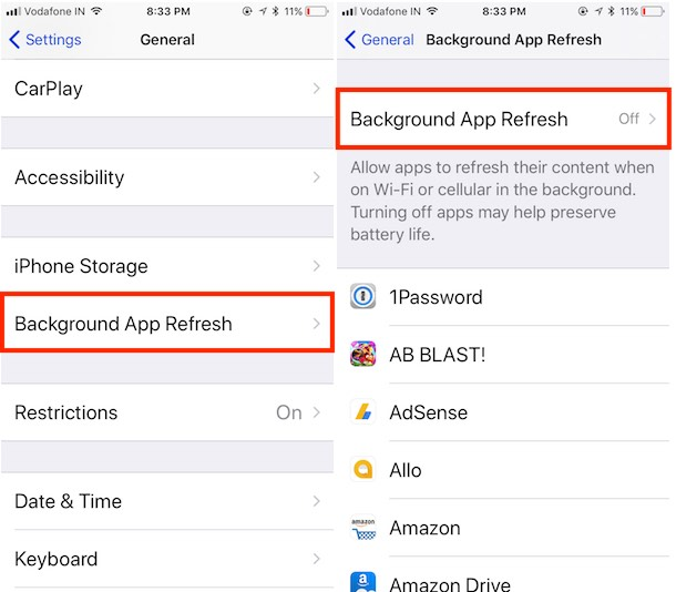 8 turn off background app refresh on iOS 11 iPhone and iPad