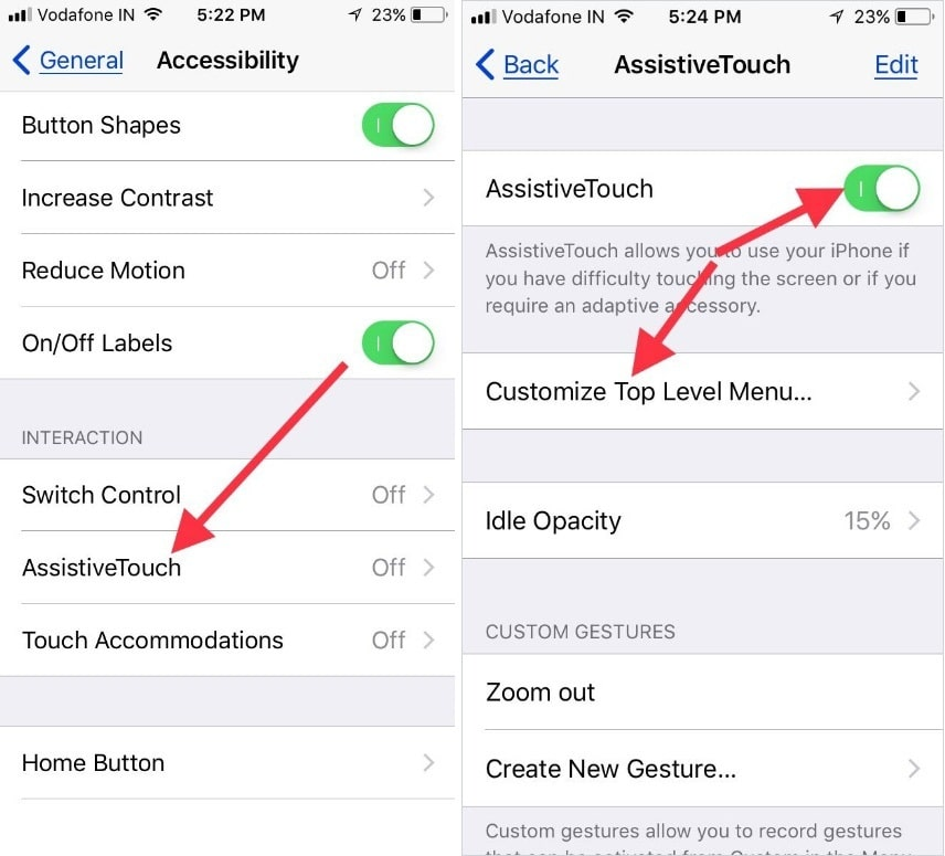 Enable Assistivetouch to open Customize Top Level menu settings on iPhone and iPad