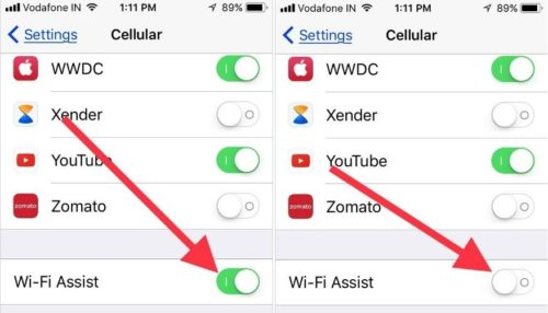 Enable disable Wi-Fi Assist on iPhone iPad in iOS 11 or later