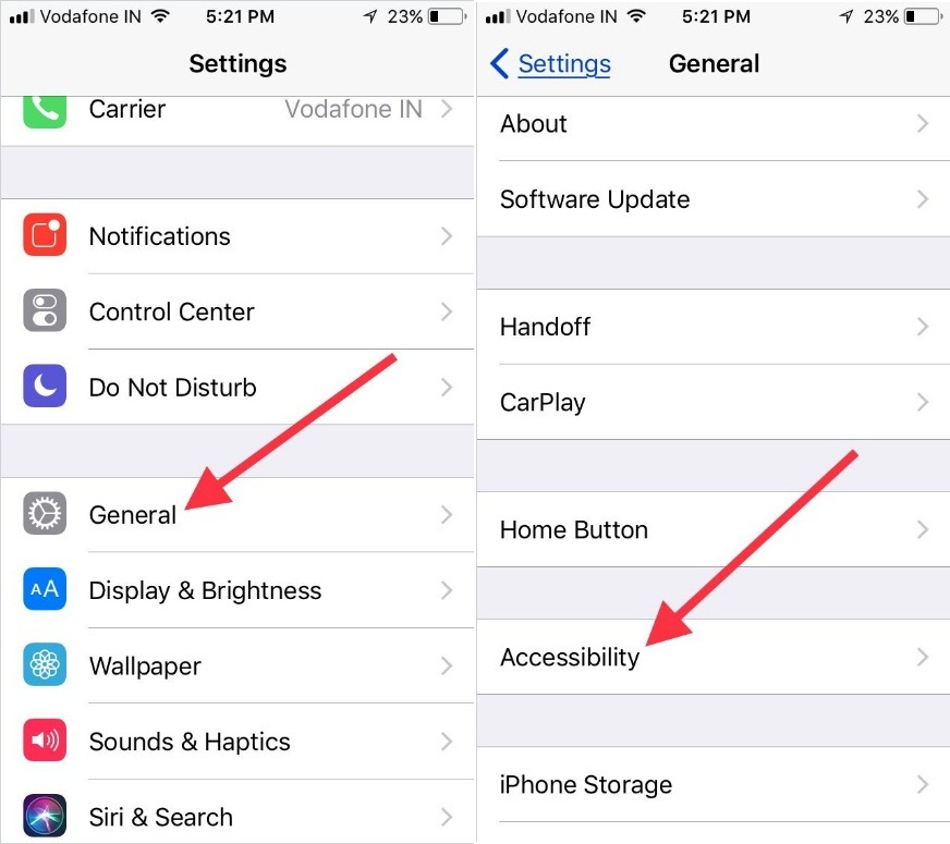 Tap on General to open Accessibility Settings in iOS 11 dark mode iPhone
