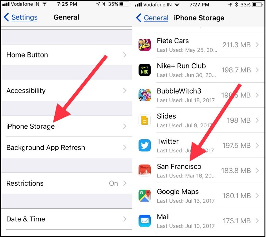 Tap on iPhone Storage to Offload Unused App manually in iOS 11 on iPhone iPad