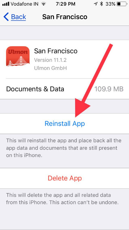 Tap on reinstall Offload App in iOS 11 on iPhone iPad