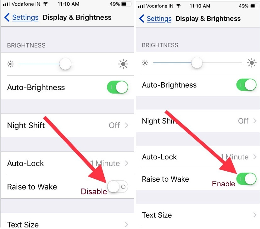 disable enable raise to wake in iOS 11 or later iPhone 7 Plus settings screen