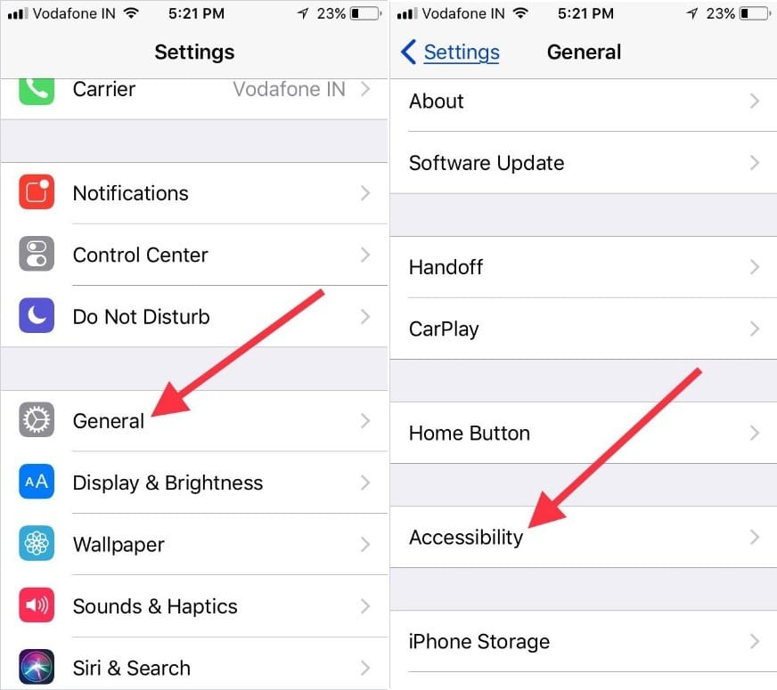 tap on General to open Accessibility settings on iPhone iPad