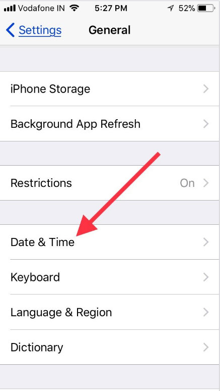 tap on general settings app to change data & time in iOS 11 iPhone