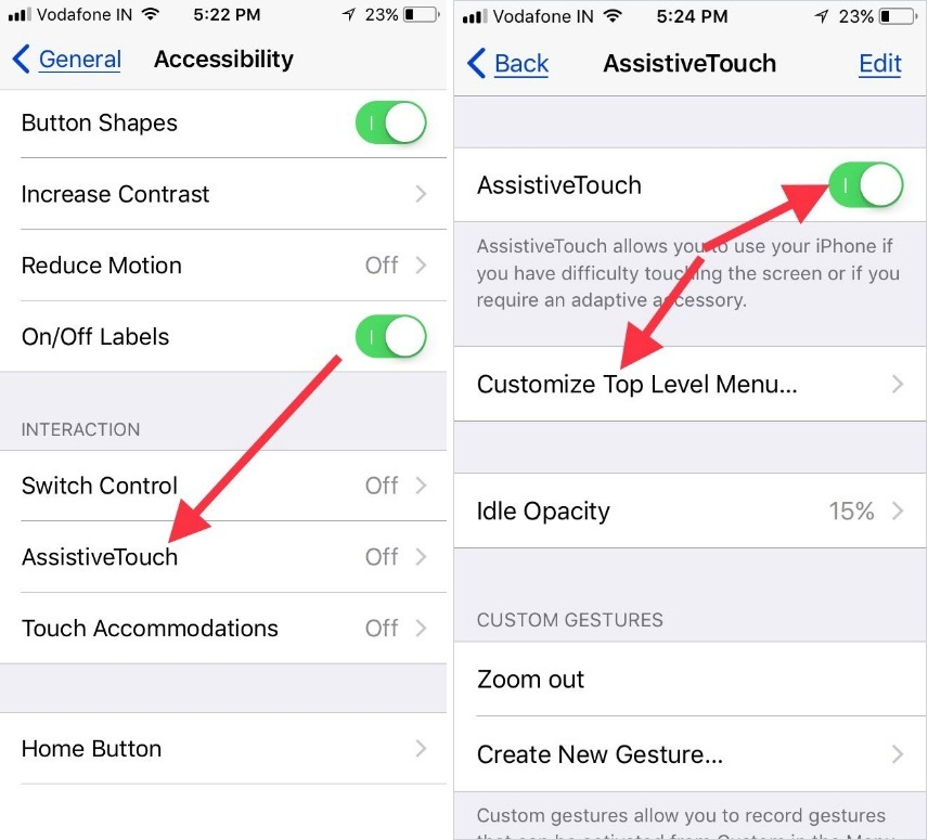 turn on Assistivetouch to open Customize Top Level menu settings on iPhone and iPad