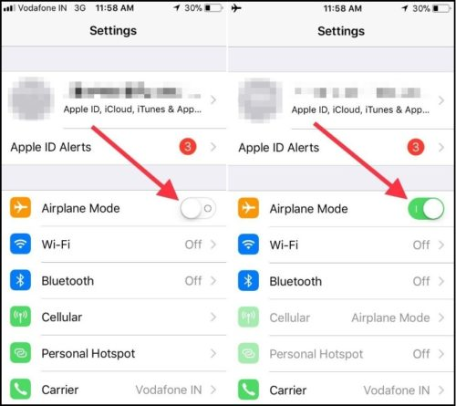 turn on turn off Airplane Mode in iOS 11 iPhone