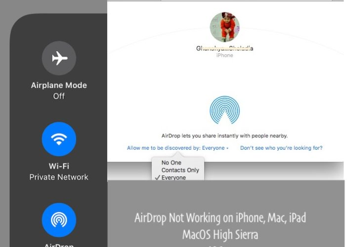 1 Airdrop not Working in iOS 11 and MacOS High Sierra