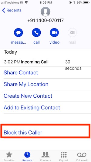 10 Block this caller from contact app