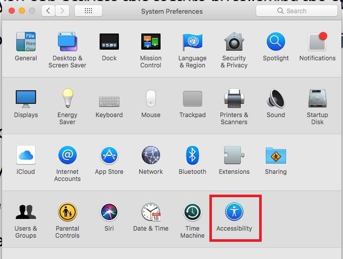 2 Специальные возможности в системных настройках MacOS High Sierra