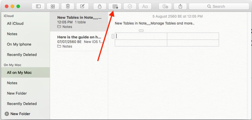 2 Add a Table in Note app on Mac Notes app