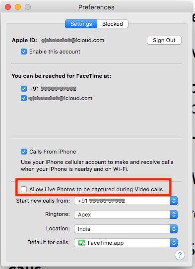 2 Disable FaceTime Live photo on Mac