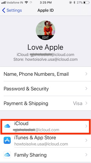 2 iCloud Settings on iPhone