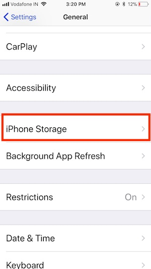 2 iPhone Storage in Settings app