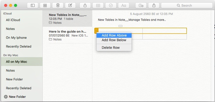3 Add Row in table on Note app in MacOS high Sierra