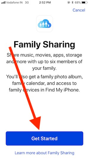 3 Start iCloud Storage Family Sharing Setup on iPhone