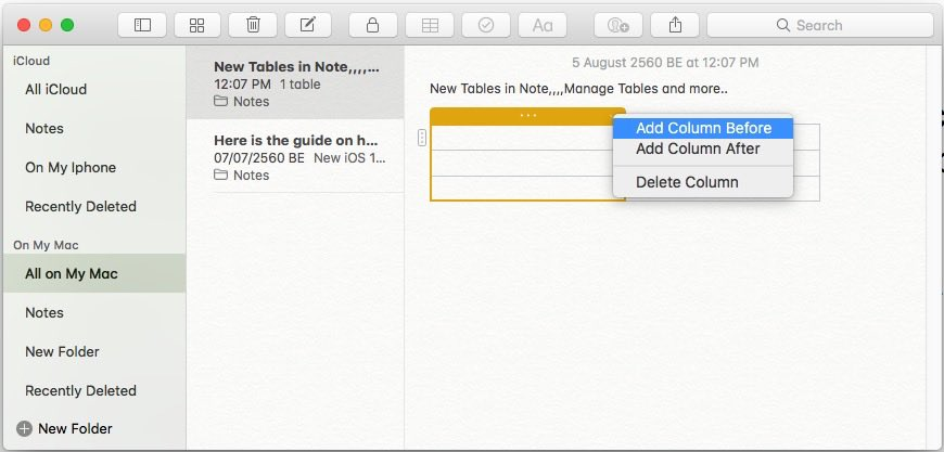 4 Add New Column in Notes app in MacOS High Sierra