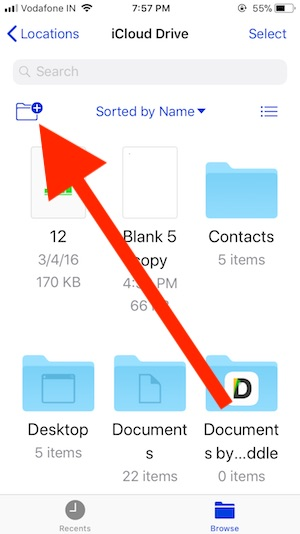 4 New Folder icon on iPhone and iPad Files app
