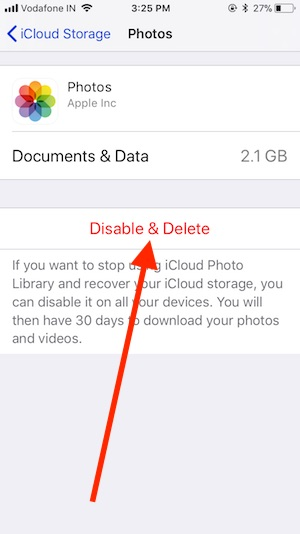 5 Delete iCloud Photo on iPhone in iOS 11