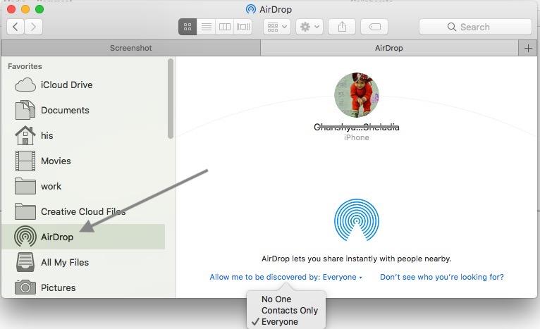 7 AirDrop enable on MacOS High Sierra