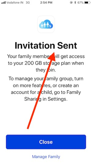 7 Invitation Sent Message for iCloud Storage Share on iPhone