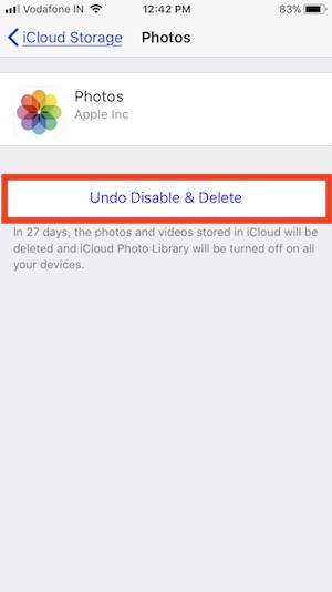 7 Undo disable iCloud Photo on iPhone in iOS 11