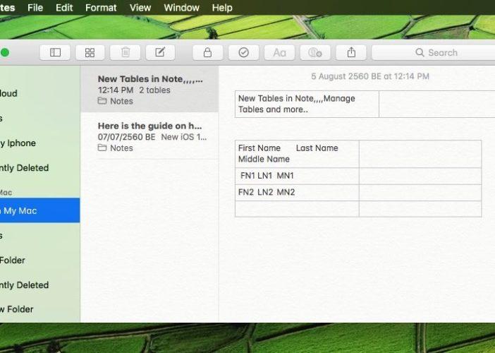 9 Use of tables in Note app on MacOS High Sierra