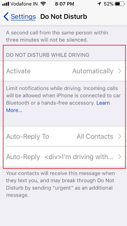 Auto Do not Disturb while Driving settings grayed out on iPhone iOS 11
