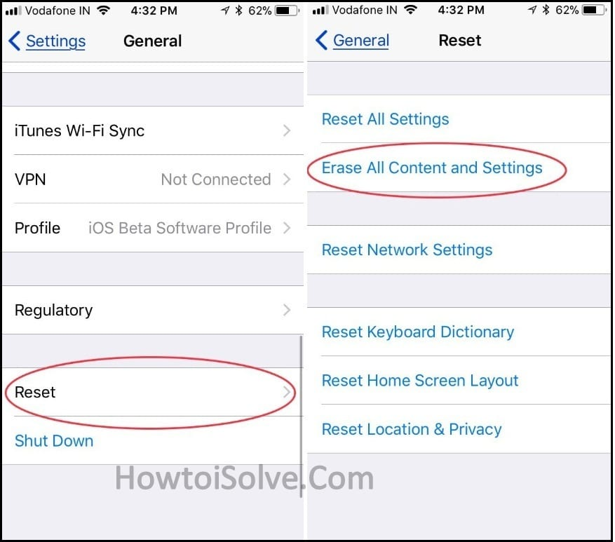 Reset iphone to factory settings screen iOS 11