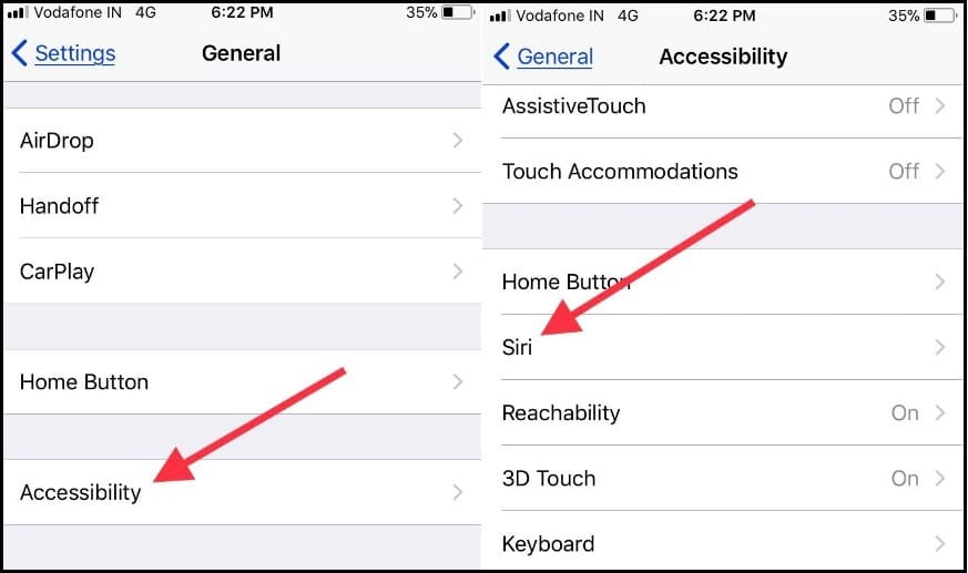 Tap on Accessibility and tap on Siri to turn off type to siri
