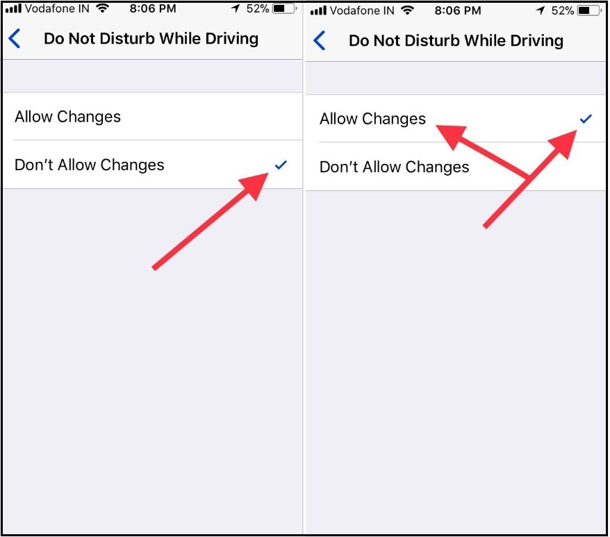 Under Do not Disturb while Driving restrictions tap on Allow Changes on iPhone iOS 11