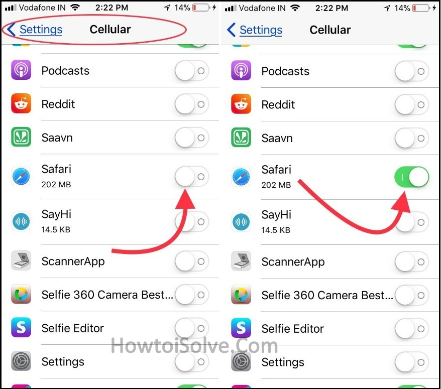 check out safari enable under cellular settings in iOS 11 or later iPhone iPad