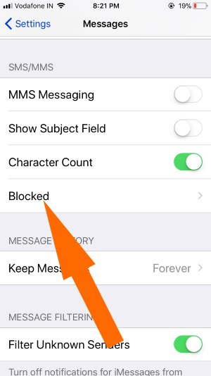 13 Blocked Contacts in Messages app on iPhone