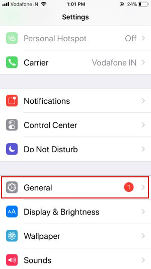 2 General in Settings on iphone