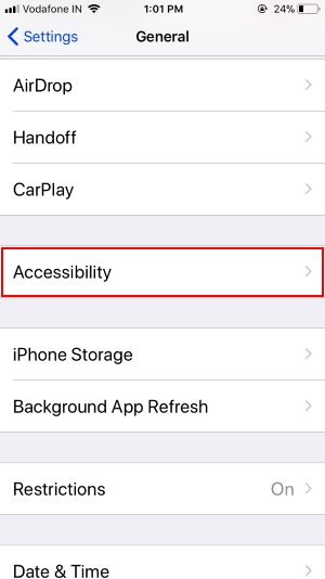 3 Accessibility on iPhone Settings in iOS 11