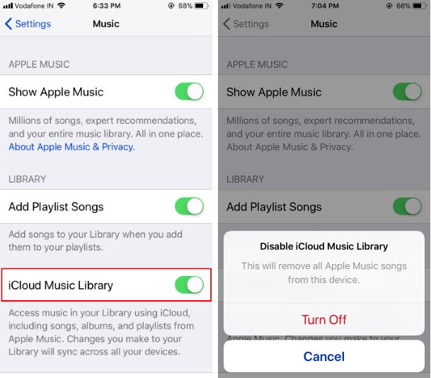 3 Turn off iCloud music library on iPhone