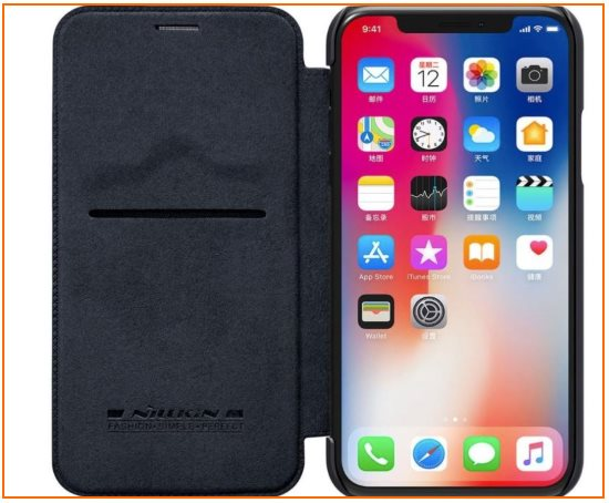 4 Leather Flip Bumper case for iPhone X