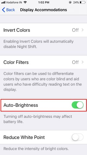 5 Auto-Brightness in iOS 11
