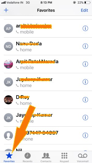 8 Block Favorites contact on iPhone