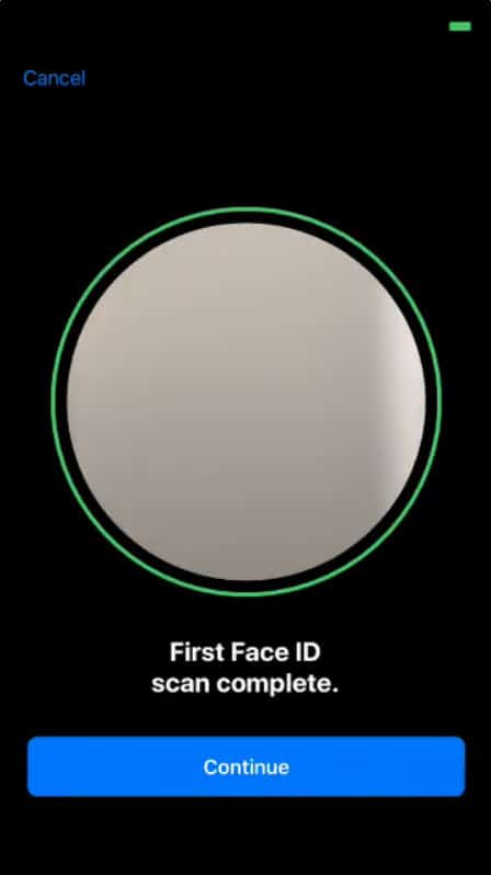 Face ID Scan completed