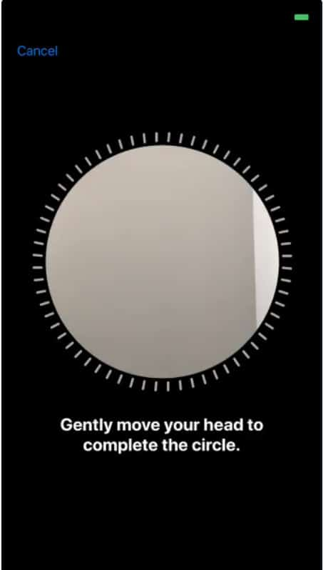 Gentaly move your head to complete the circle for Face ID